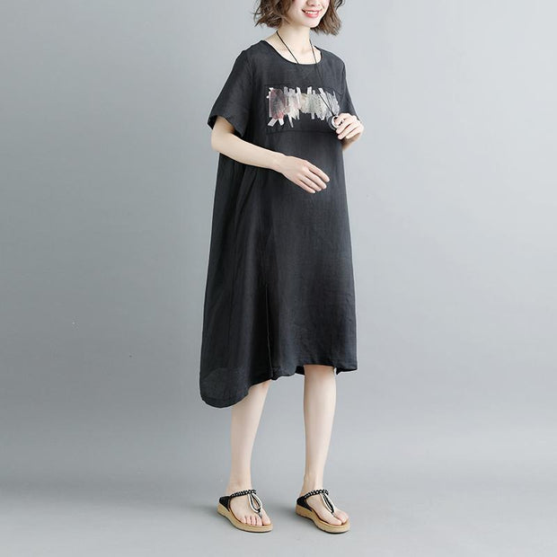 Casual Summer Short Sleeve Black Pockets Slit Dress