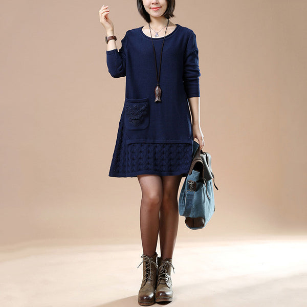 Autumn Long Sleeve Embroidered Navy Blue Sweater - Buykud