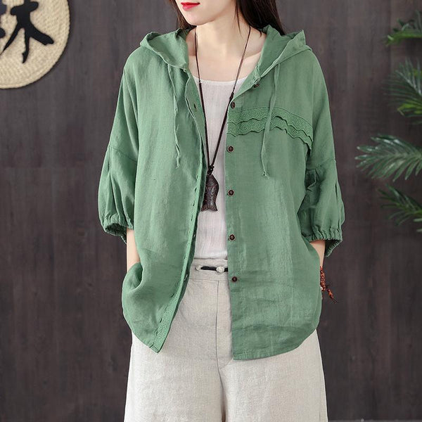 Cotton Casual Linen Loose Hooded Blouse