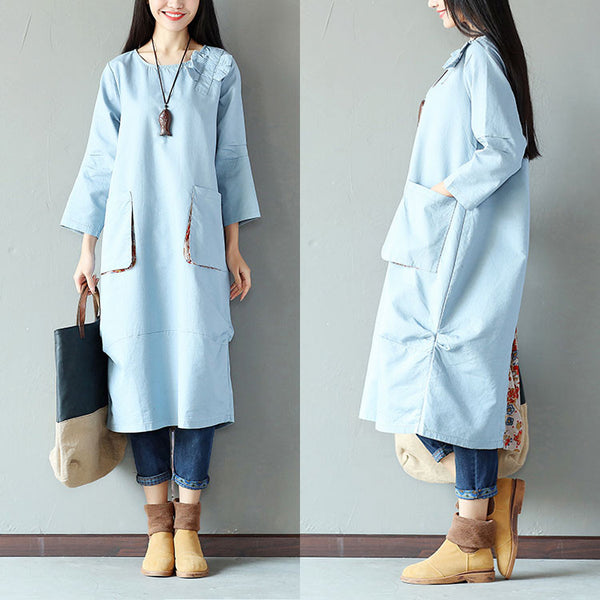 Casual Loose Pocket Fold Splicing Printing Linen Blue Dress