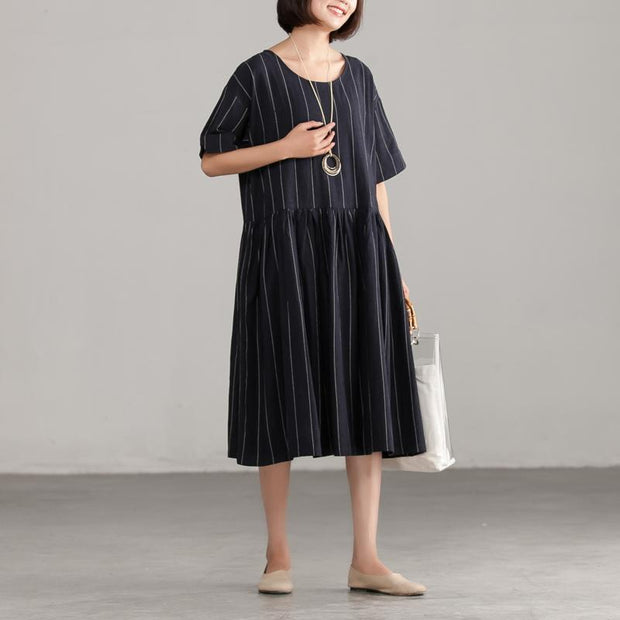 Black Stripe Short Sleeve Summer Dress