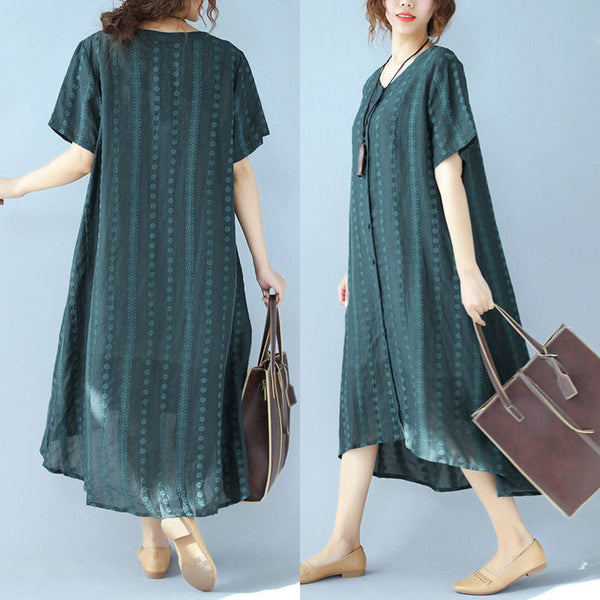 Women Embroidered Casual Literature Loose Green Dress - Buykud