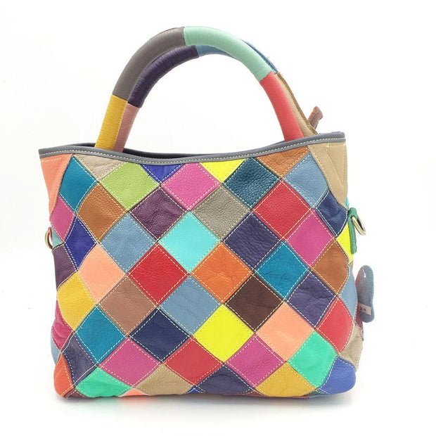 Casual Colored Grid Handbag Crossbody Bag