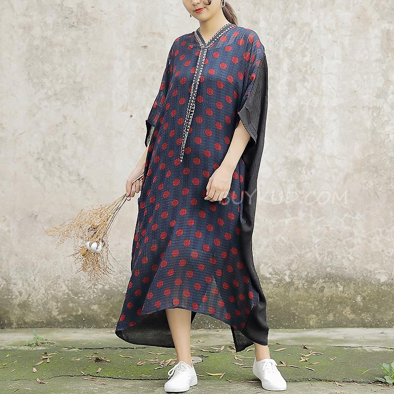 Comfortable Large Size Silk Polka Dot Women Dress