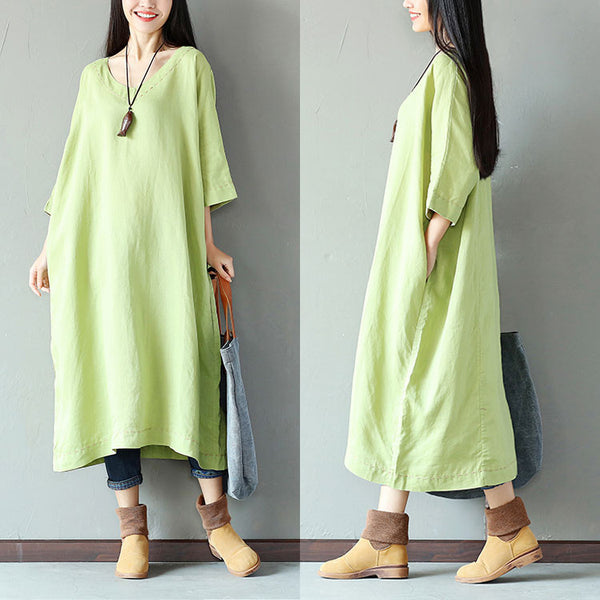 Casual Loose Linen V Neck Women Green Dress