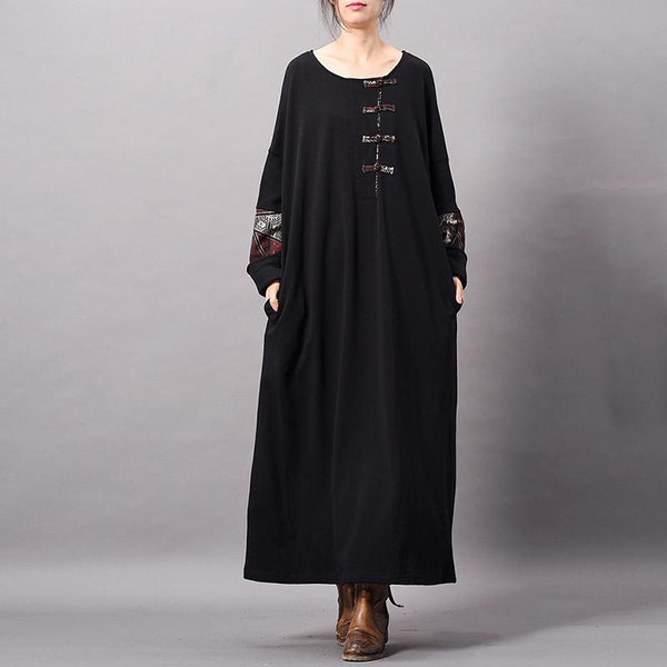 Black Retro Female Folk Style Long Dress