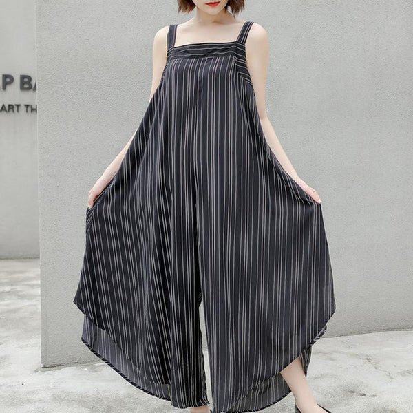 Casual Polyester Striped Ankle-Length Overalls