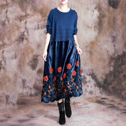 3D Floral Knit Stitching Elegant Dress