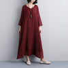 Summer Short Sleeve Red Casual Pockets Long Dress