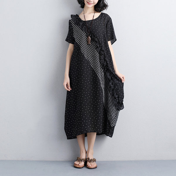 Summer Short Sleeve Dots Lacing Casual Black Dress