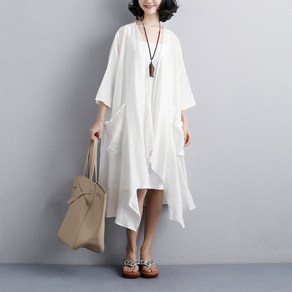 Summer White Casual Loose Lacing Pockets Blouse