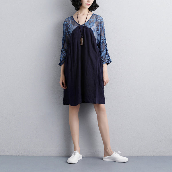 Summer Short Sleeve V Neck Navy Blue Casual Dress