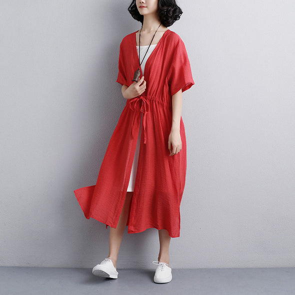 Loose Casual Short Sleeve Side Slit Red Lacing Dress