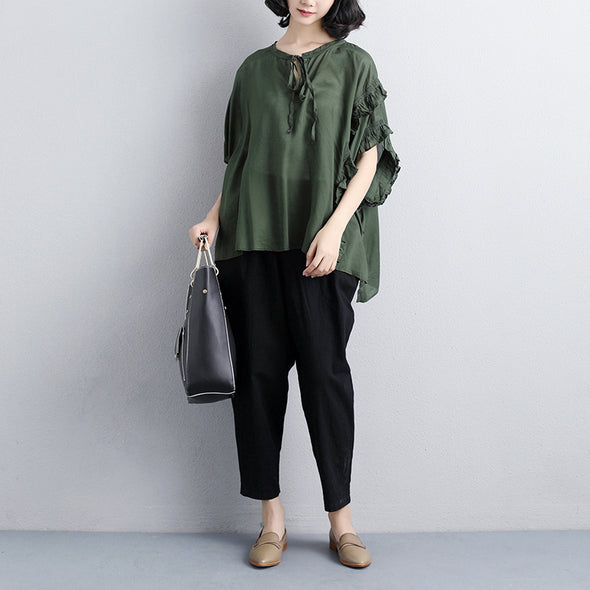 Loose Summer Short Sleeve Green Lacing Women Tops