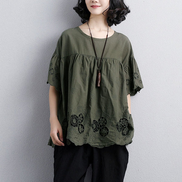 Loose Round Neck Short Sleeve Cotton Army Green Tops