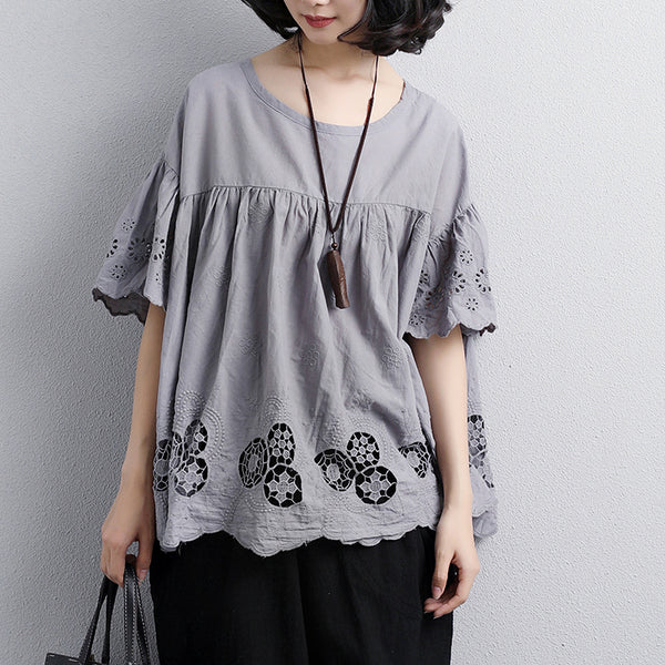 Loose Round Neck Short Sleeve Cotton Gray Tops