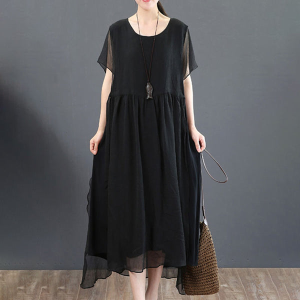 Round Neck Casual Summer Short Sleeve Black Loose Dress