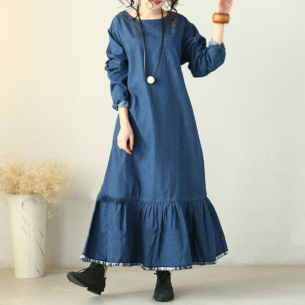 Spring Lotus Leaf's Hem Denim Dress