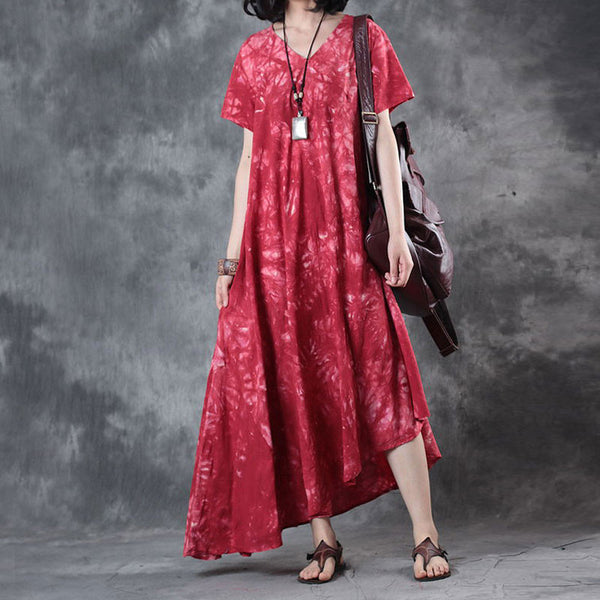 Retro Printing Loose Women Cotton Floral Irregular Splicing Red Dress