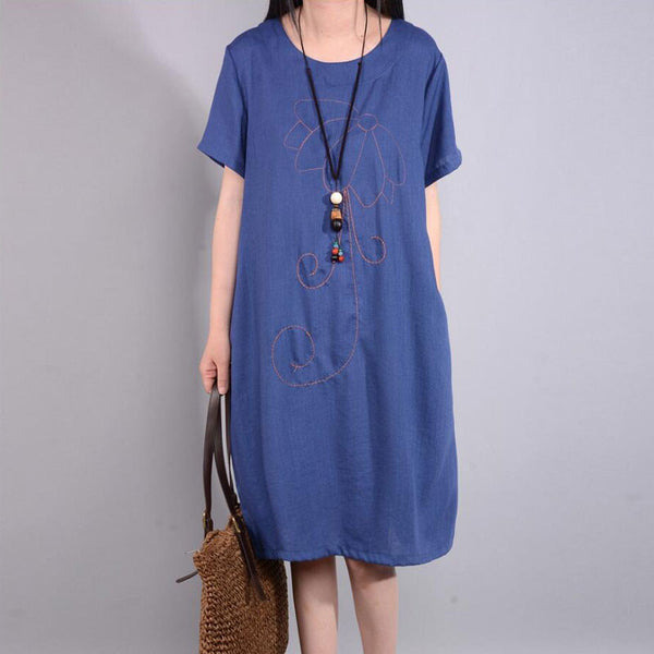 Retro Summer Loose Embroidered Ethnic Blue Dress