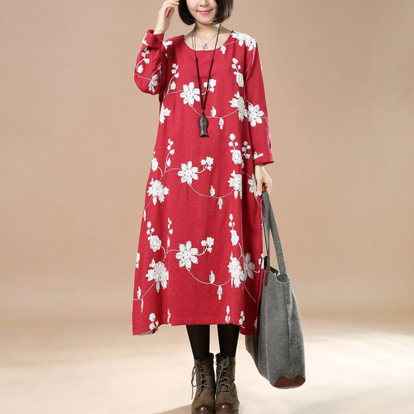 Spring Retro Linen Embroidered Loose Red Dress
