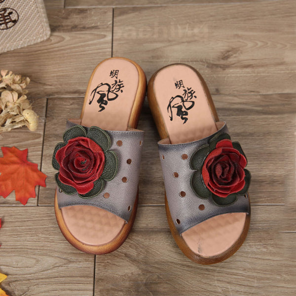 Casual Summer Women Shoes Flower Gray Slip-on Slippers