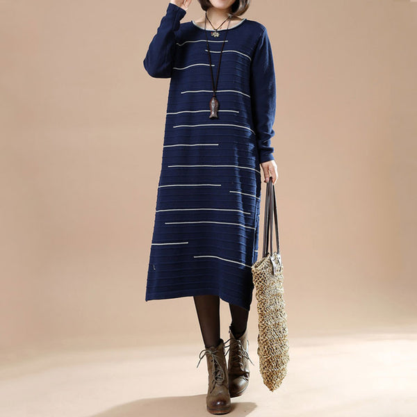 Women Autumn Round Neck Long Sleeve Striped Casual Long Sweater Blue