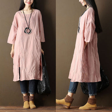 Embroidered Cotton Women Casual Pink Dress - Buykud