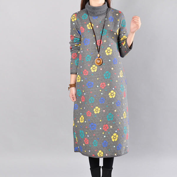 Gray Women Loose Cotton Long Sleeve Spring And Winter Print Dress - Buykud