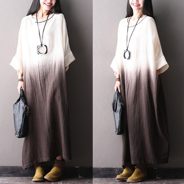 Bat Sleeve Cotton Linen Brown Dresses