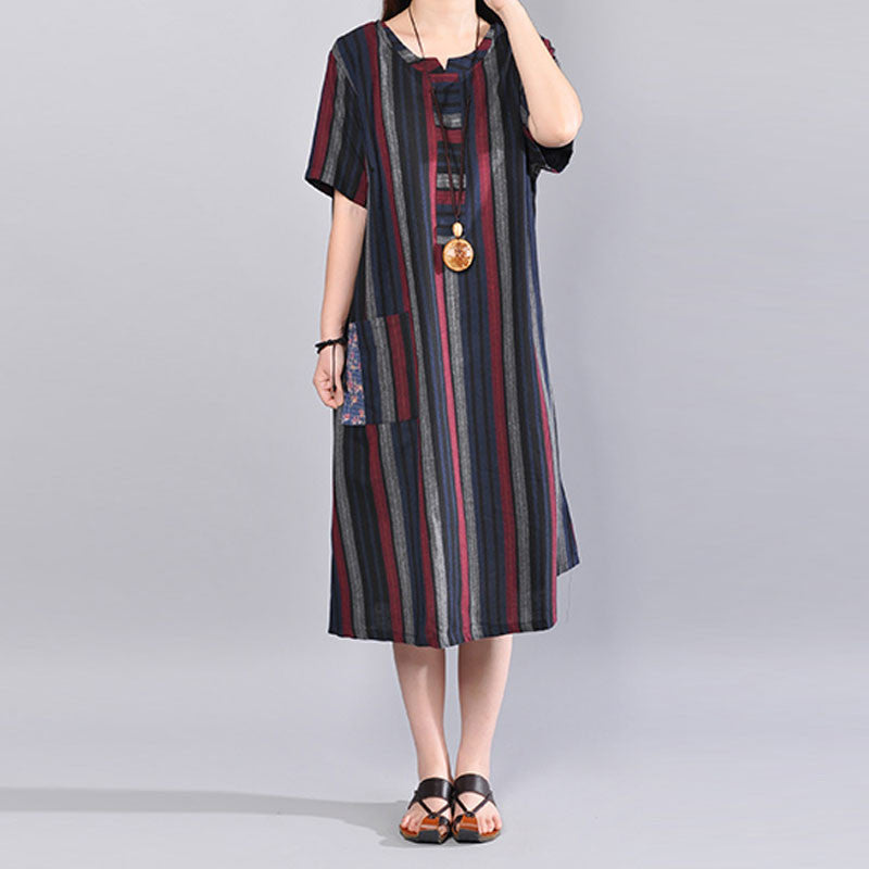 Women Loose Casual Cotton Stripe Summer Red Dress - Buykud