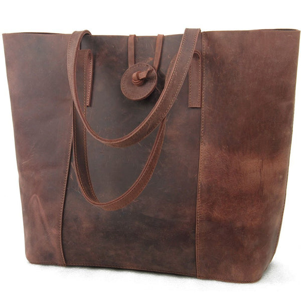 Vintage Cow Leather Tote Handbag Shoulder Bag