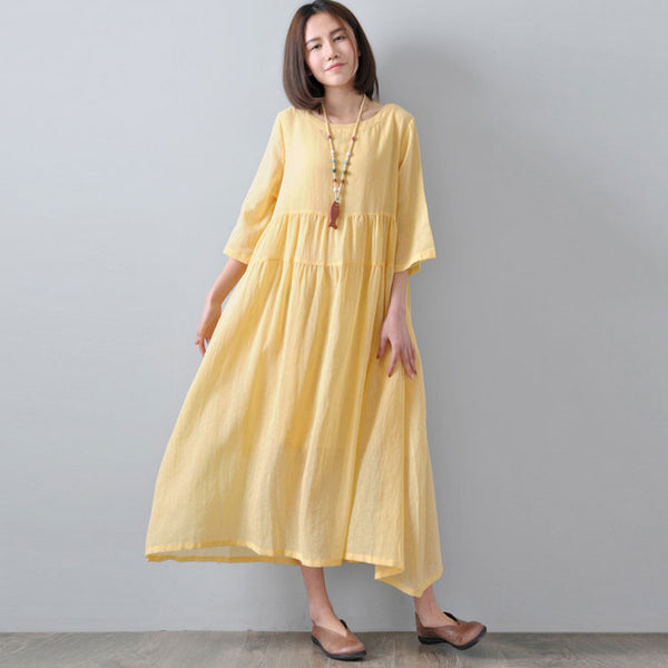 Loose Linen Women Summer Dress - Buykud