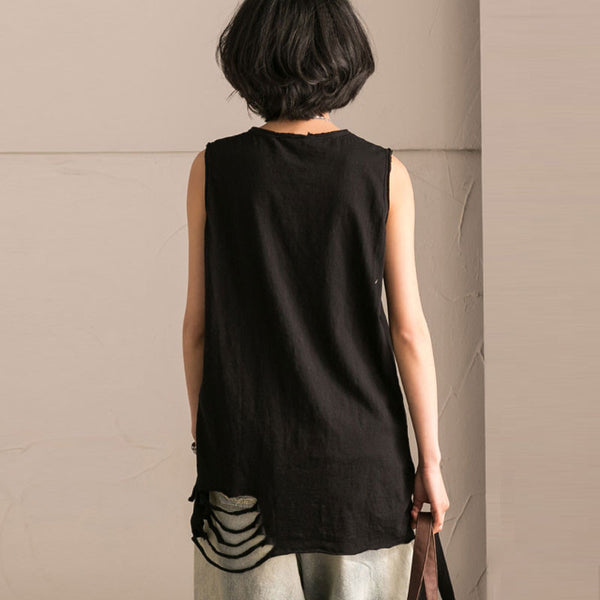 Round Neck Simple Summer Women Black Vest - Buykud