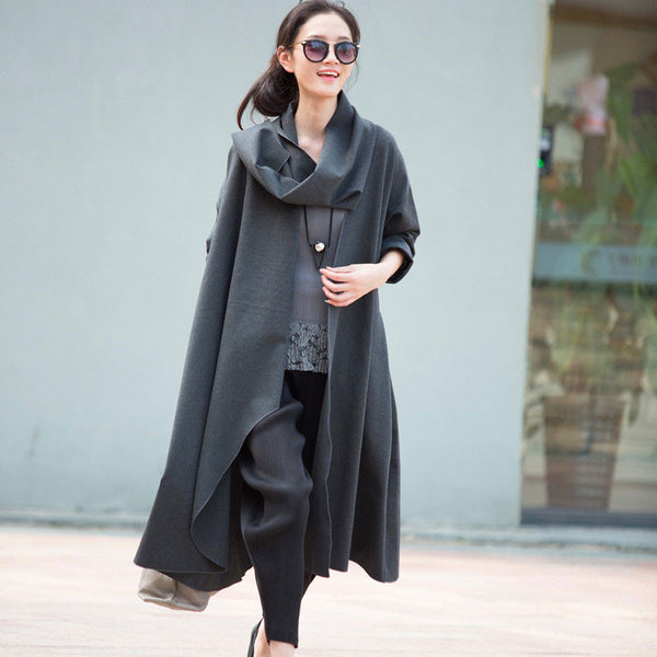 Long Sleeve Loose Jacket Gray Coat