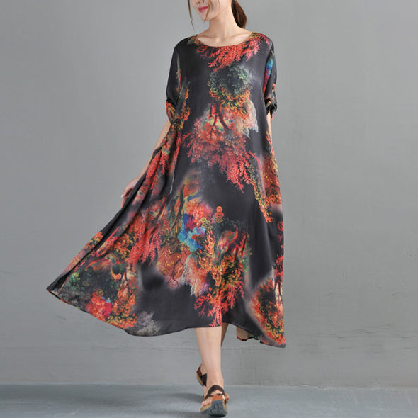 Round Neck Three Quarter Sleeve Printed Summer Dress - Buykud