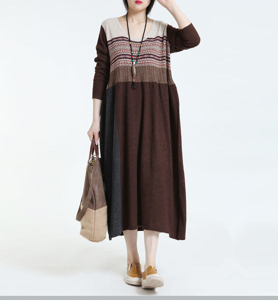 Women Casual Loose Cotton Autumn Knitted Dress