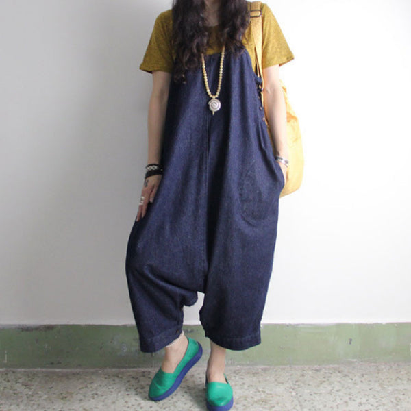 Retro Denim Trousers Loose Harem Pants