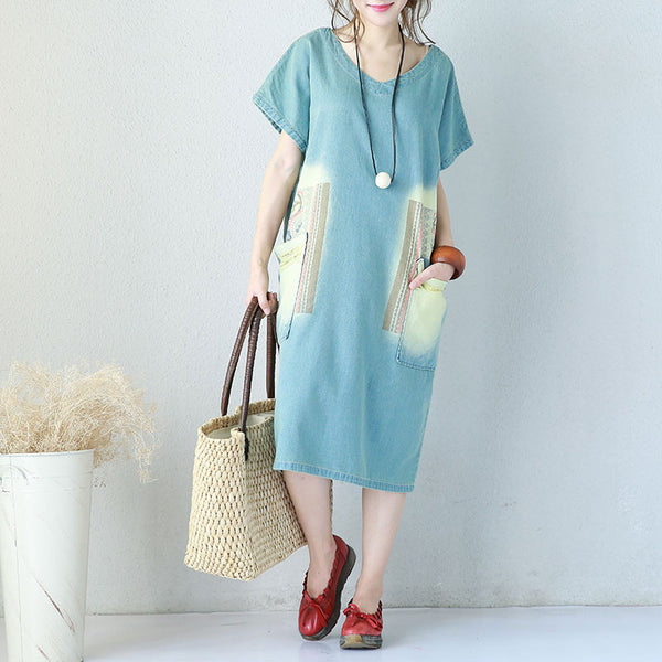 V Neck Loose Distressed Printing Pocket Denim Dress