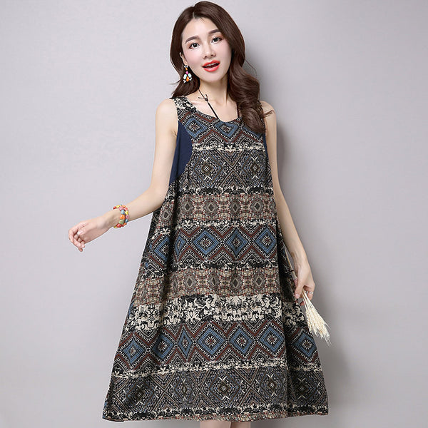 Retro Loose Women Linen Printing Casual Cotton Dress - Buykud