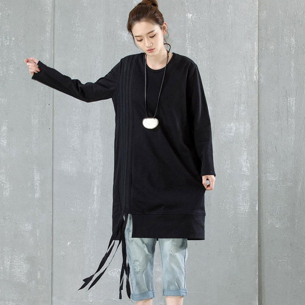 Women Round Neck Loose Cotton Shirt - Buykud