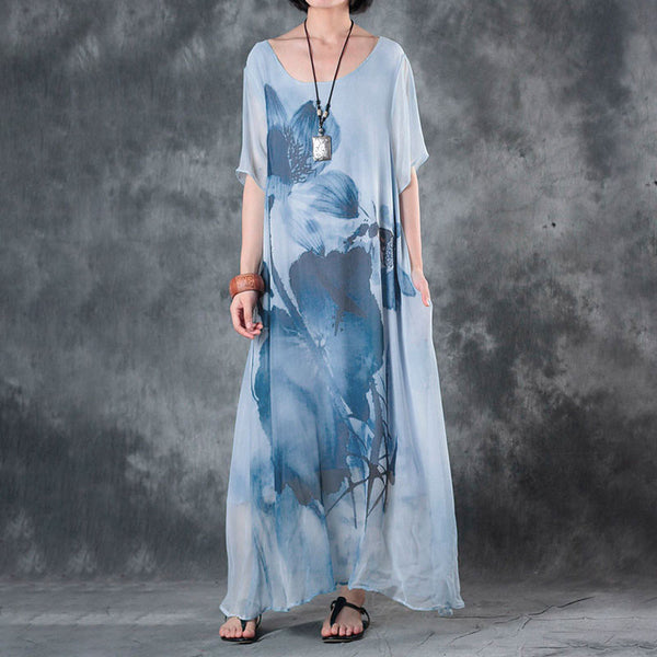 Round Neck Women Summer Printing Short Sleeve Dress