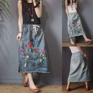 Embroidered Elastic Waist A Line Women Summer Denim Skirt