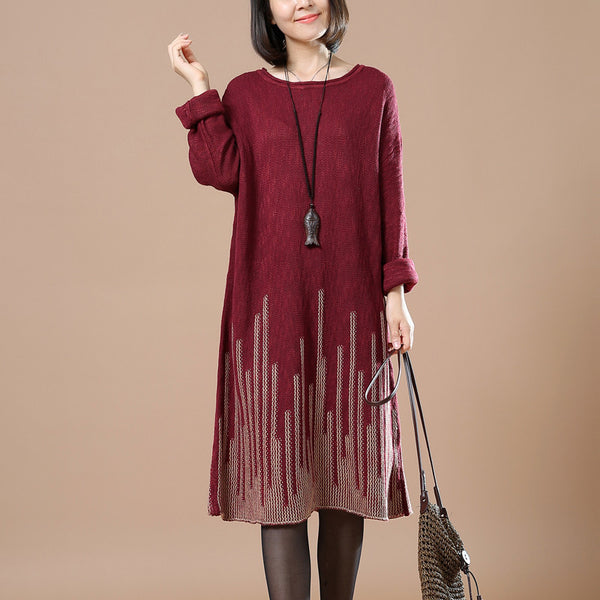 Casual Loose Autumn Long Sleeve Sweater Wine Red
