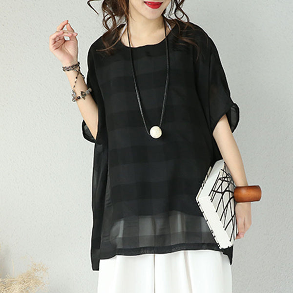 Loose Round Neck Elbow Sleeve Shirt - Buykud