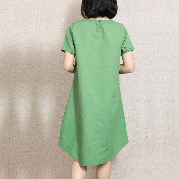 Women Embroidered Lace Green Dress