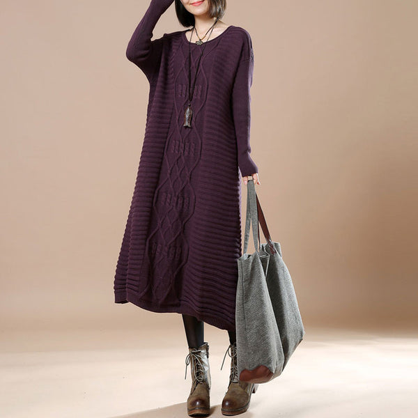 Casual Long Sleeve Retro Sweater Purple