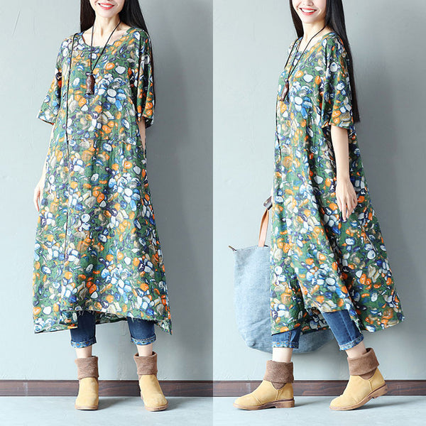 Printing Women Splicing Linen Loose Green Dress