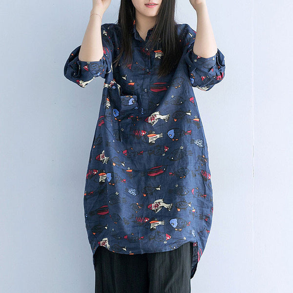 Loose Linen Irregular Casual Women Blue Shirts
