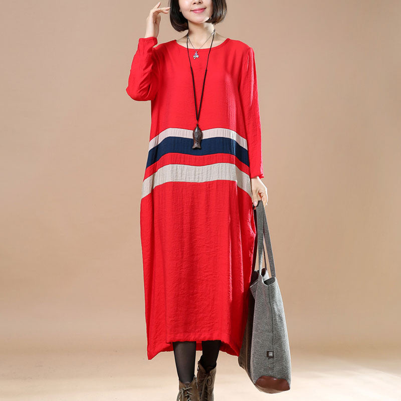 Splicing Comfortable Large Size Casual Spring Red Dress - Buykud